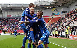 Jack Marriott of Peterborough United celebrates scoring his sides equalising goal with team-mates - Mandatory by-line: Joe Dent/JMP - 30/03/2018 - FOOTBALL - Aesseal New York Stadium - Rotherham, England - Rotherham United v Peterborough United - Sky Bet League One
