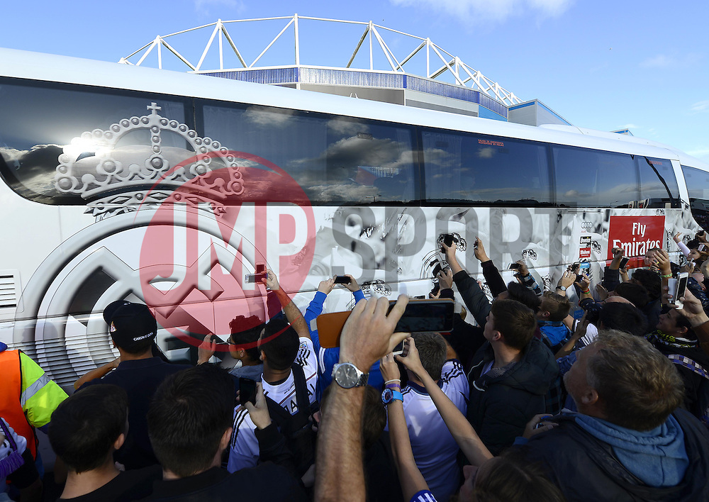 Fans wait outside the Cardiff City stadium for the arrival of the Real Madrid team coach - Photo mandatory by-line: Joe Meredith/JMP - Mobile: 07966 386802 12/08/2014 - SPORT - FOOTBALL - Cardiff - Cardiff City Stadium - Real Madrid v Sevilla - UEFA Super Cup
