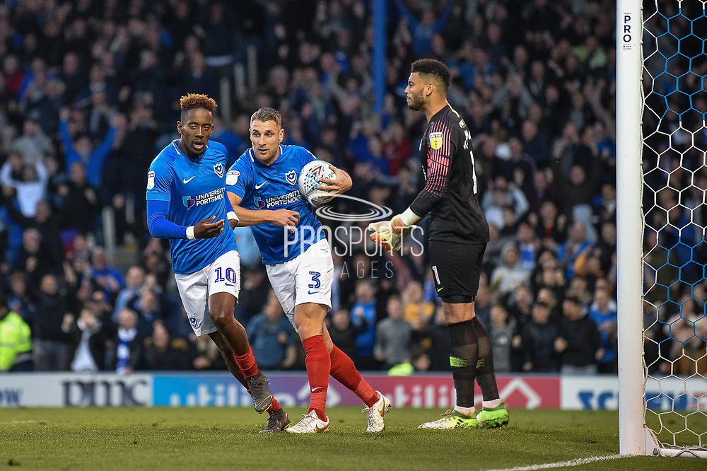 Portsmouth Defender, Lee Brown (3) collects the ball after Portsmouth Midfielder, Ben Close (33) scores a goal to make it 1-2 during the EFL Sky Bet League 1 match between Portsmouth and Peterborough United at Fratton Park, Portsmouth, England on 30 April 2019.