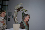 Camilla Barnaby and Bridget Barnaby . Bronze Sculpture by Georgiana Anstruther-Gough-Calthorpe. Air Gallery. Dover St. London. 27 September 2005. ONE TIME USE ONLY - DO NOT ARCHIVE © Copyright Photograph by Dafydd Jones 66 Stockwell Park Rd. London SW9 0DA Tel 020 7733 0108 www.dafjones.com