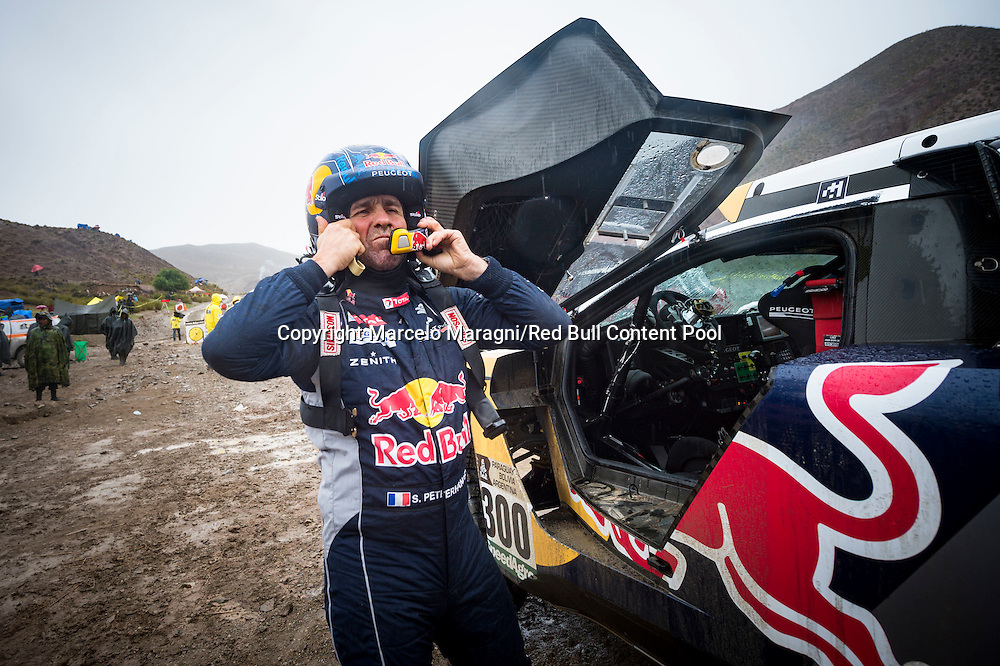 Stephane Peterhansel (FRA) of Team Peugeot Total is seen at the start line of  stage 05 of Rally Dakar 2017 from Tupiza, to Oruro, Bolivia January 06, 2017 // Marcelo Maragni/Red Bull Content Pool // P-20170106-00151 // Usage for editorial use only // Please go to www.redbullcontentpool.com for further information. //
