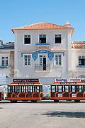 The old train station building decorated with blue azulejos tiles on the walls, Aveiro, Portugal