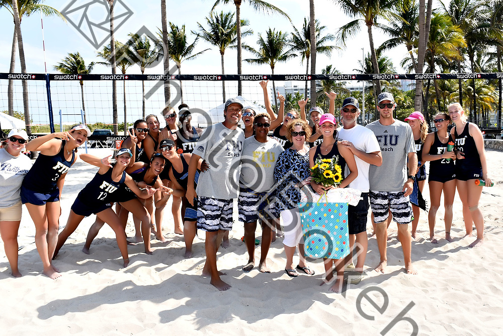 2017 March 31 - FIU honored their seniors in a ceremony between matches. Florida International University sand volleyball hosted the FIU Surf and Turf Beach Volleyball tournament on Miami Beach, Florida. (Photo by: Alex J. Hernandez / photobokeh.com) This image is copyright by PhotoBokeh.com and may not be reproduced or retransmitted without express written consent of PhotoBokeh.com. ©2017 PhotoBokeh.com - All Rights Reserved