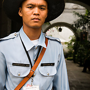 MANILA (Philippines). 2009. Police dressed in colonial uniforms  in a colonial house of Intramuros