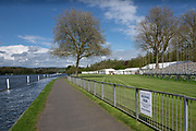 Henley on Thames. United Kingdom.   2018 Henley Royal Regatta, Henley Reach. <br />   <br /> Course Construction. General View of the lawns in front of the  The Stewards Enclosure and partly erected grandstand. <br /> <br /> Wednesday  25/04/2018<br /> <br /> [Mandatory Credit: Peter SPURRIER:Intersport Images]<br /> <br /> LEICA CAMERA AG  LEICA Q (Typ 116)  f5.6  1/1250sec  35mm  42.5MB