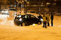 One Car takes out a traffic bollard after the driver finds he cant stop at the junction of Nether Lane and the A629 Cowley Hill.30th November 2010.Images © Paul David Drabble