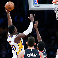 26 March 2016: Los Angeles Lakers forward Julius Randle (30) goes for the layup during the Portland Trail Blazers 97-81 victory over the Los Angeles Lakers, at the Staples Center, Los Angeles, California, USA.