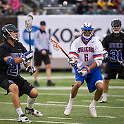 April 01,  2012: Duke midfielder Robert Rotanz (26) receives a pass as   Syracuse midfielder Joe Moore (6) looks on during the Big City Classic at  Met Life Stadium in East Rutherford, New Jersey . Duke defeated Syracuse 12-10. (Credit Image: © Kostas Lymperopoulos/Cal Sport Media)