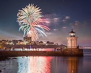Portland, Maine knows how to celebrate the fourth of July. We watched a terrific fireworks display from Bug Light Park in South Portland, just across the harbor. I even captured some red, white, and blue reflections in the ocean water.