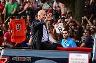 COOPERSTOWN, NY - JULY 25: Hall of Famer Cal Ripkin Jr. waves to fans during the Parade of Legends down Main Street on July 25, 2015 in Cooperstown, NY. (Photo by Jennifer Stewart/Arizona Diamondbacks/Getty Images)