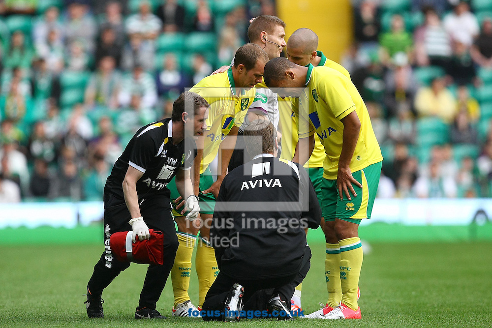 Picture by Paul Chesterton/Focus Images Ltd +44 7904 640267.24/07/2012.New signing Steven Whittaker of Norwich has to leave the pitch through injury during the Friendly match at Celtic Park, Glasgow.