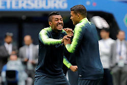 June 21, 2018 - Saint Petersburg, Russia - Paulinho (L) and Thiago Silva during a Brazil national team training session during the FIFA World Cup 2018 on June 21, 2018 at Saint Petersburg Stadium in Saint Petersburg, Russia. (Credit Image: © Mike Kireev/NurPhoto via ZUMA Press)