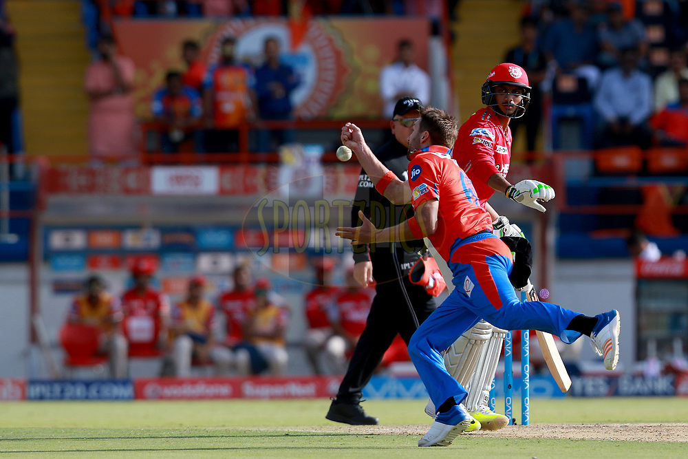 Andrew Tye of GL during match 26 of the Vivo 2017 Indian Premier League between the Gujarat Lions and the Kings XI Punjab held at the Saurashtra Cricket Association Stadium in Rajkot, India on the 23rd April 2017<br /> <br /> Photo by Rahul Gulati - Sportzpics - IPL