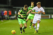 Forest Green Rovers William Randall(19) holds off Swansea City's Adam King during the EFL Trophy match between Forest Green Rovers and U21 Swansea City at the New Lawn, Forest Green, United Kingdom on 31 October 2017. Photo by Shane Healey.