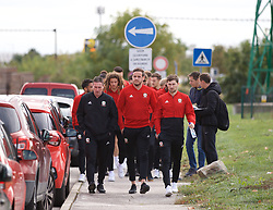 BRATISLAVA, SLOVAKIA - Thursday, October 10, 2019: Wales' Tony Strudwick (L), goalkeeper Daniel Ward (C) and Ben Davies (R) during a pre-match team walk near the Hotel NH Bratislava Gate One ahead of the UEFA Euro 2020 Qualifying Group E match between Slovakia and Wales. (Pic by David Rawcliffe/Propaganda)