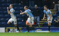 Blackburn Rovers's Jordan Rhodes celebrates scoring the winning goal with his team-mates - Photo mandatory by-line: Richard Martin-Roberts/JMP - Mobile: 07966 386802 - 11/03/2015 - SPORT - Football - Blackburn - Ewood Park - Blackburn Rovers v Bolton Wanderers - Sky Bet Championship
