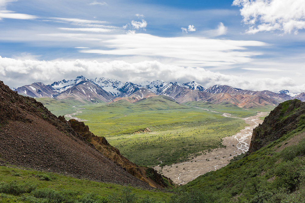 Mount Pendleton and the colorful mountains at Polychrome Pass in Denali National Park in Southcentral Alaska. Summer. Afternoon.