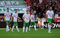 FUSSBALL   1. BUNDESLIGA   SAISON 2011/2012    2. SPIELTAG Bayer 04 Leverkusen - SV Werder Bremen              14.08.2011 Sebastian PROEDL, Aaron HUNT, Marko MARIN, Lukas SCHMITZ und Claudio PIZARRO (v.l., alle Bremen) sind nach dem 1:0 enttaeuscht