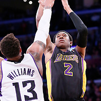 28 February 2014: Los Angeles Lakers shooting guard MarShon Brooks (2) takes a jumpshot over Sacramento Kings power forward Derrick Williams (13) during the Los Angeles Lakers 126-122 victory over the Sacramento Kings at the Staples Center, Los Angeles, California, USA.