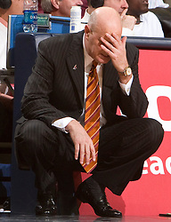 Virginia Tech head coach Seth Greenberg had a long night as his Hokies lost to UVA.  The Virginia Cavaliers defeated the Virginia Tech Hokies 75-61 at the John Paul Jones Arena on the Grounds of the University of Virginia in Charlottesville, VA on February 18, 2009.