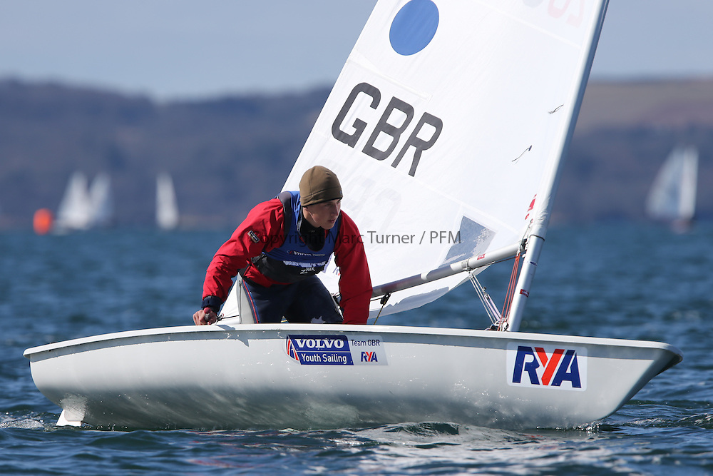 Image Credit Marc Turner..200888, Henry WETHERELL, Beaver SC, Laser Standard.Day 5, RYA Youth National Championships 2013 held at Largs Sailing Club, Scotland from the 31st March - 5th April. .