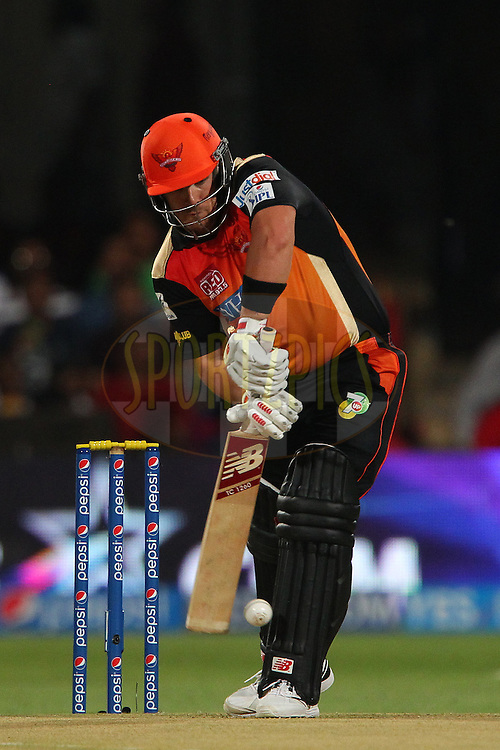 Aaron Finch of the Sunrisers Hyderabad during match 24 of the Pepsi Indian Premier League Season 2014 between the Royal Challengers Bangalore and the Sunrisers Hyderabad held at the M. Chinnaswamy Stadium, Bangalore, India on the 4th May  2014<br /> <br /> Photo by Ron Gaunt / IPL / SPORTZPICS<br /> <br /> <br /> <br /> Image use subject to terms and conditions which can be found here:  http://sportzpics.photoshelter.com/gallery/Pepsi-IPL-Image-terms-and-conditions/G00004VW1IVJ.gB0/C0000TScjhBM6ikg