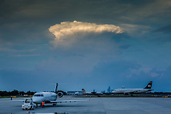 Charlotte Sky, Charlotte Douglas International Airport, North Carolina with incoming storm clouds over the Queen City of Charlotte.