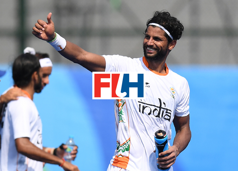 India's Rupinder Pal Singh gestures after the men's field hockey Argentina vs India match of the Rio 2016 Olympics Games at the Olympic Hockey Centre in Rio de Janeiro on August, 9 2016. / AFP / MANAN VATSYAYANA        (Photo credit should read MANAN VATSYAYANA/AFP/Getty Images)