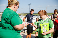 June 22, 2016: OKC Energy FC holds an event for their Sidekicks program in partnership with Special Olympics Oklahoma at the Express Clydesdales Barn in Yukon, Oklahoma.