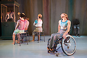 © Tony Nandi. 03/05/2014. Made up of disabled and non-disabled dancers, Stopgap Dance Company performs the London premiere of its latest work Artificial Things, following a critically acclaimed UK and European tour. Lillian Baylis Studio, Sadler's Wells Theatre, London. Picture features Laura Jones.