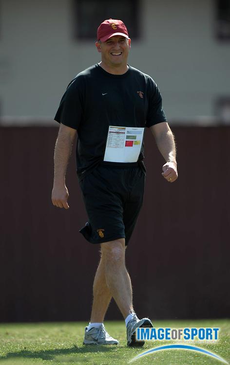 Apr 5, 2012; Los Angeles, CA, USA; Southern California Trojans quarterbacks coach Clay Helton at spring practice at Howard Jones Field.