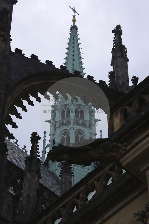 Flying buttresses the surround the exterior of St Vitus's Cathedral  Prague Castle in Prague, Czech Republic. The castle, first constructed in the 10th century is the seat of government in the Czech Republic.