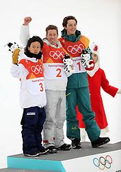 February 14, 2018 - PyeongChang, South Korea - (L-R) Silver medal winner AYUMU HIRANO of Japan, gold medal winner SHAUN WHITE of USA, and bronze medal winner SCOTTY JAMES of Australia, during the venue podium ceremony in Snowboard Men's Halfpipe Final at Phoenix Snow Park during the 2018 Pyeongchang Winter Olympic Games. (Credit Image: © Scott Mc Kiernan via ZUMA Wire)