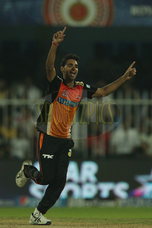 Bhuvneshwar Kumar of the Sunrisers Hyderabad celebrates the wicket of Faf du Plessis of The Chennai Superkings during match 17 of the Pepsi Indian Premier League 2014 between the Sunrisers Hyderabad and the Chennai Superkings held at the Sharjah Cricket Stadium, Sharjah, United Arab Emirates on the 27th April 2014<br /> <br /> Photo by Ron Gaunt / IPL / SPORTZPICS