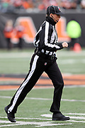 Line judge Sarah Thomas (53) jogs across the field during the Cincinnati Bengals 2016 NFL week 13 regular season football game against the Philadelphia Eagles on Sunday, Dec. 4, 2016 in Cincinnati. The Bengals won the game 32-14. (©Paul Anthony Spinelli)