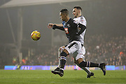 Derby County attacker Tom Ince (10) battles for possesion with Fulham defender Scott Malone (03) during the EFL Sky Bet Championship match between Fulham and Derby County at Craven Cottage, London, England on 17 December 2016. Photo by Matthew Redman.