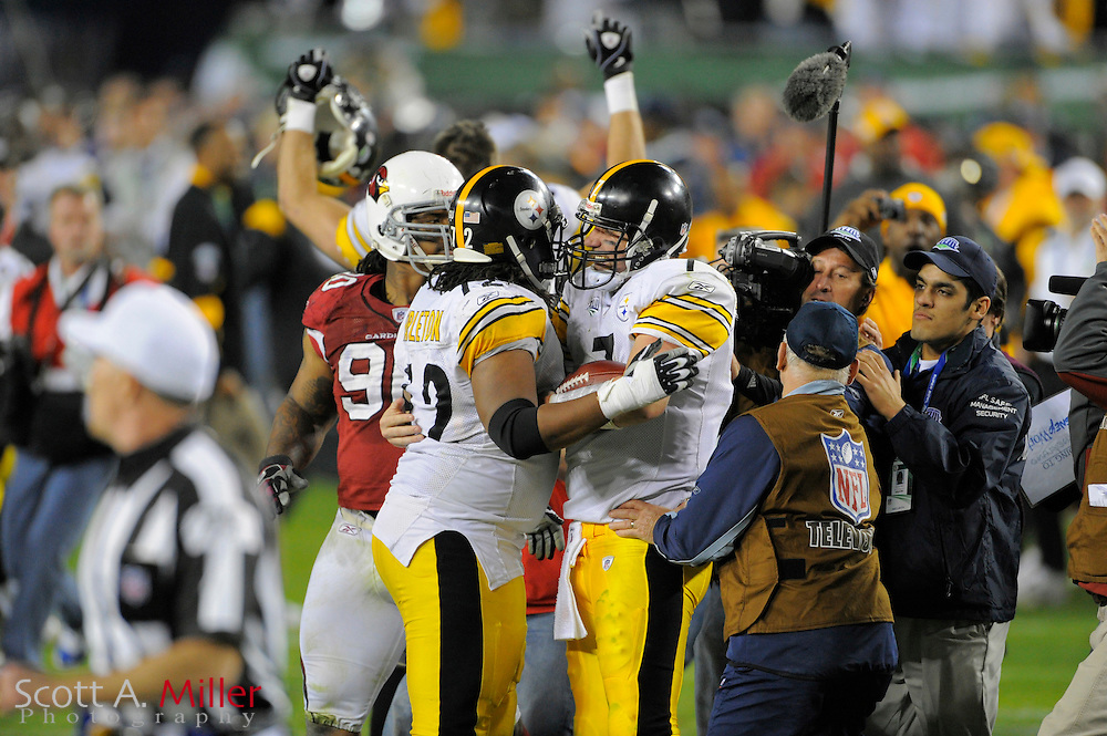 Feb 1, 2009; Tampa, FL, USA; Pittsburgh Steelers quarterback Ben Roethlisberger (right) celebrates with guard Darnell Stapleton (72) after the game of Super Bowl XLIII against the Arizona Cardinals at Raymond James Stadium. The Steelers defeated the Cardinals 27-23.  ©2009 Scott A. Miller