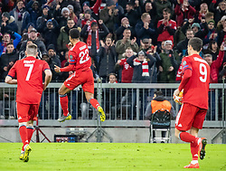 13.03.2019, Allianz Arena, Muenchen, GER, UEFA CL, FC Bayern Muenchen vs FC Liverpool, Achtelfinale, Rückspiel, im Bild FC Bayern feiert das 1:1 durch Serge Gnabry (FC Bayern), v.l. Franck Ribery (FC Bayern), Serge Gnabry (FC Bayern), Robert Lewandowski (FC Bayern) // during the UEFA Champions League round of 16, 2nd leg match between FC Bayern Muenchen and FC Liverpool at the Allianz Arena in Muenchen, Germany on 2019/03/13. EXPA Pictures © 2019, PhotoCredit: EXPA/ Johann Groder
