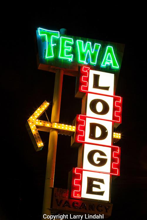 Tewa Lodge, neon sign, Albuquerque, New Mexcio, Route 66,