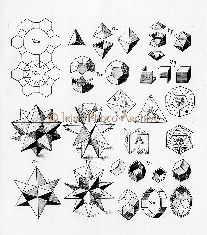 Regular geometrical solids of various types, 1619. On centre right are the geometrical solids for the elements Earth, Air, Fire, Water and the fifth heavenly element. From 'Harmonices Mundi', by Johannes Kepler. (Linz, 1619). Engraving.