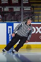 KELOWNA, CANADA - NOVEMBER 10: Linesman Kevin Crowell skates at the Kelowna Rockets against the Vancouver Giants on November 10, 2017 at Prospera Place in Kelowna, British Columbia, Canada.  (Photo by Marissa Baecker/Shoot the Breeze)  *** Local Caption ***