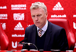 Sunderland manager David Moyes looks dejected in his post match press conference after his side's defeat to Middlesbrough - Mandatory by-line: Robbie Stephenson/JMP - 26/04/2017 - FOOTBALL - Riverside Stadium - Middlesbrough, England - Middlesbrough v Sunderland - Premier League