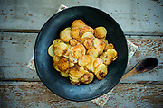 Photograph of fried Potatoes for the Little House Cookbook.