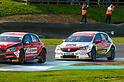 Adam MORGAN Mac Tools with Ciceley Motorsport & Jason PLATO Sterling Insurance with Power Maxed Racing at Leslies during Round 23 of the Kwikfit British Touring Car Championship at Knockhill Racing Circuit, Dunfermline, Scotland on 15 September 2019.