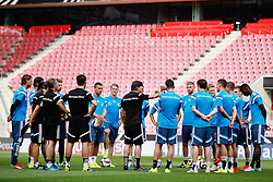 "08.06.2015, RheinEnergie Stadion, Koeln, GER, Nationalmannschaft, Training, im Bild National-, Bundestrainer Joachim ""Jogi"" Loew bei einer Mannschaftsansprache mit Lukas Podolski (Inter Mailand), Bastian Schweinsteiger (FC Bayern Muenchen), Christoph Kramer (Borussia Moenchengladbach), Andre Schuerrle (VfL Wolfsburg), Torwart Roman Weidenfeller (Borussia Dortmund) Torwart Ron-Robert Zieler (Hannover 96) // during a trainingssession of the german national team at the RheinEnergie Stadion in Koeln, Germany on 2015/06/08. EXPA Pictures © 2015, PhotoCredit: EXPA/ Eibner-Pressefoto/ Schüler<br /> <br /> *****ATTENTION - OUT of GER*****"