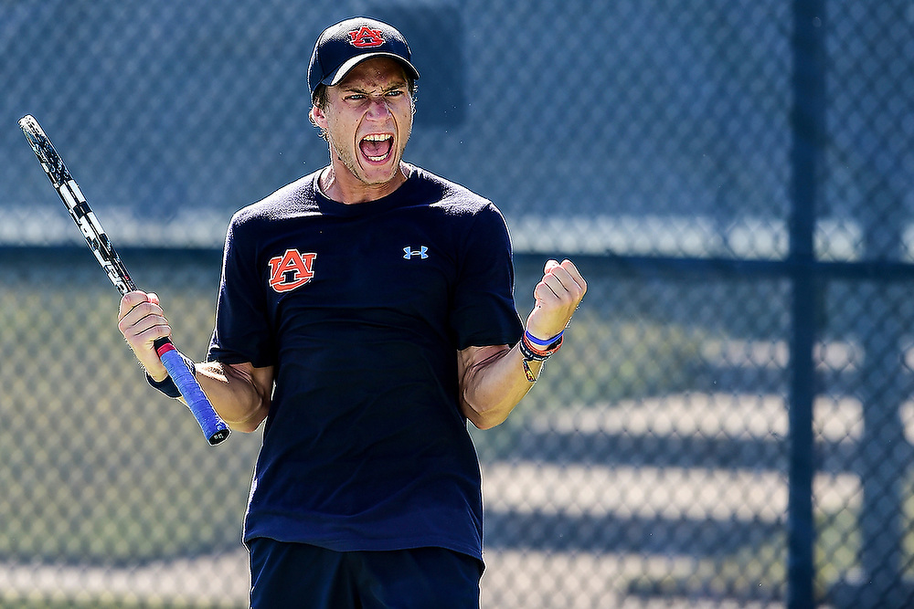 Auburn's Marko Krickovic celebrates winning a point. <br /> ITA Southern Regionals in Auburn, Ala. on Saturday, Oct. 18, 2014.<br /> Zach Bland/Auburn Athletics