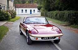 05 Sept 2019. St Denoeux, Pas de Calais, France.<br /> Messing about with cars. Ben in the Lotus Elan Sprint with Simon at Festina Lente Gîtes.<br /> Photo©; Charlie Varley/varleypix.com