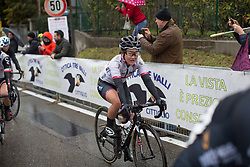 Eri Yonamine (JPN) of Wiggle Hi5 Cycling Team finishes the Trofeo Alfredo Binda - a 131,1 km road race, between Taino and Cittiglio on March 18, 2018, in Varese, Italy. (Photo by Balint Hamvas/Velofocus.com)