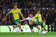 Derby appeal for a penalty as Derby County midfielder Harry Wilson (7) heads towards the Norwich goal during the EFL Sky Bet Championship match between Derby County and Norwich City at the Pride Park, Derby, England on 3 October 2018.