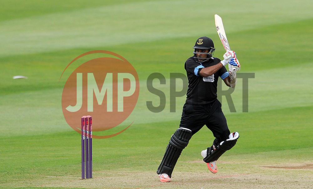 Sussex's Mahela Jayawardena hits the ball off the bowling of Somerset's Jamie Overton. Photo mandatory by-line: Harry Trump/JMP - Mobile: 07966 386802 - 22/05/15 - SPORT - CRICKET - Natwest T20 Blast - Somerset v Sussex Sharks - The County Ground, Taunton, England.